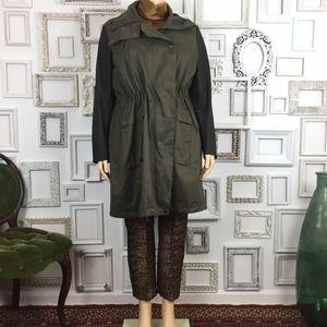 Lane Bryant | Olive Green Black Sleeve Trench Coat